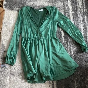 Lovers + Friends Green Silk Dress